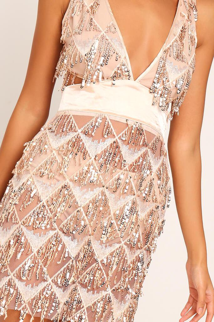 Rose Gold Plunge Cut Out Sequin Mini Prom Dress view 4