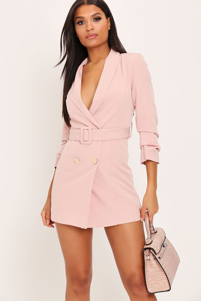 Blush Pink Woven Ruched Sleeve Belted Blazer Dress