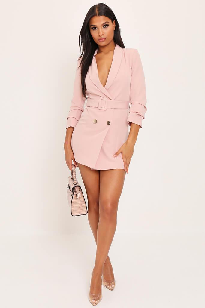 Blush Pink Woven Ruched Sleeve Belted Blazer Dress view 2