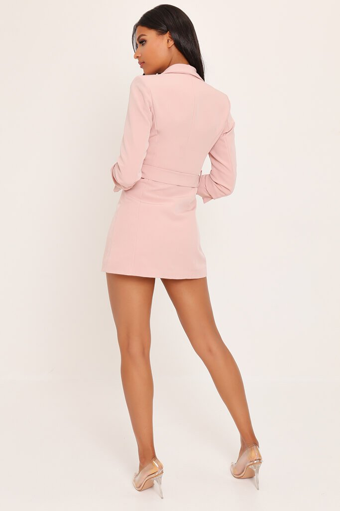 Blush Pink Woven Ruched Sleeve Belted Blazer Dress view 5