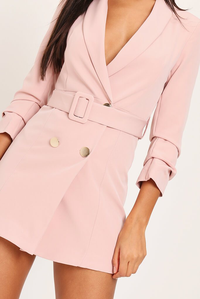 Blush Pink Woven Ruched Sleeve Belted Blazer Dress view 4