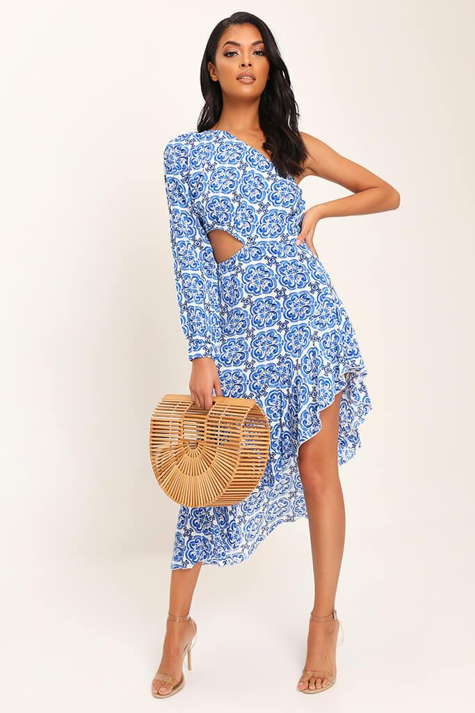 Blue Tile Print One Shoulder Midi Dress view 2