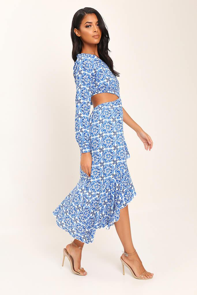 Blue Tile Print One Shoulder Midi Dress view 3