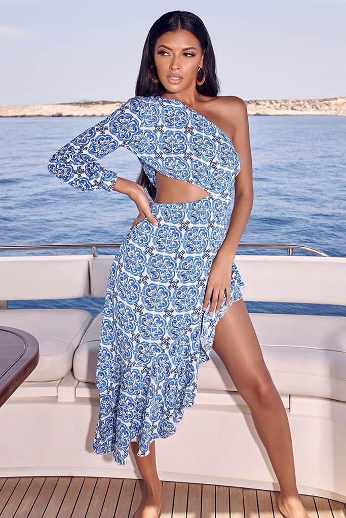 Blue Tile Print One Shoulder Midi Dress