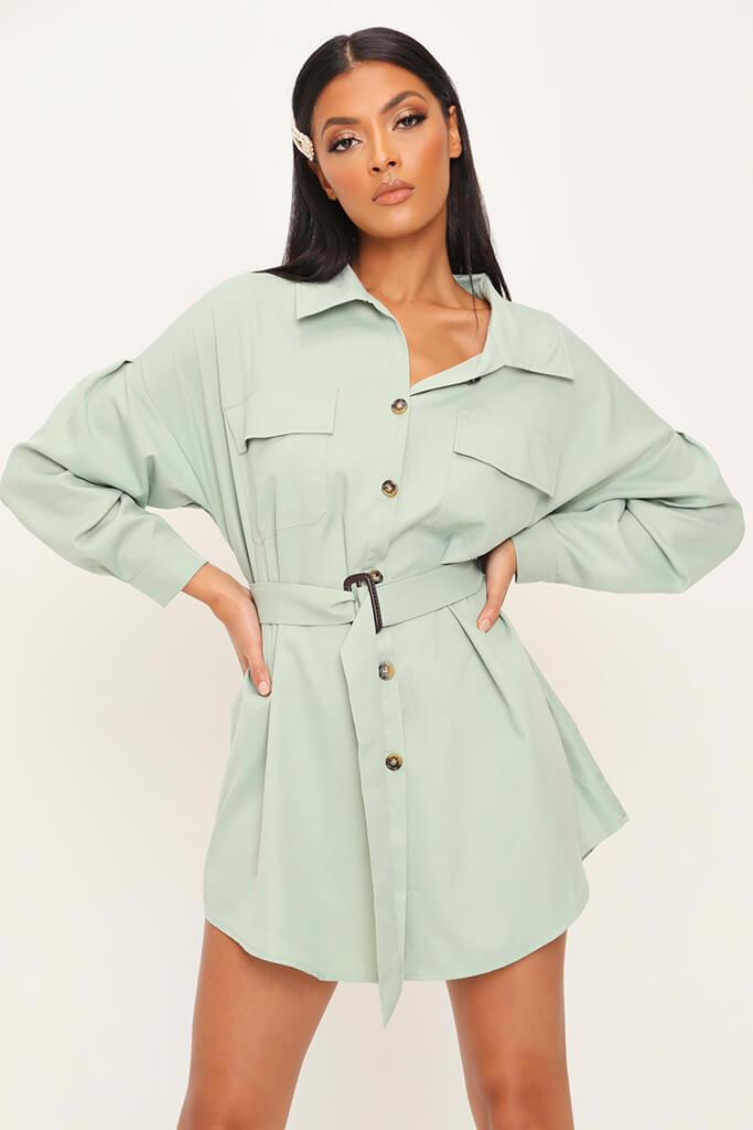 Sage Drop Shoulder Belted Oversized Shirt Dress
