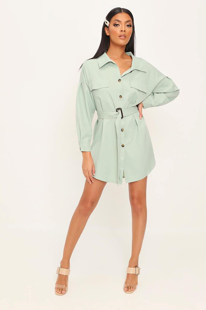 Sage Drop Shoulder Belted Oversized Shirt Dress view 3