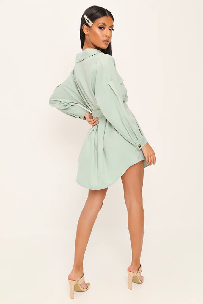 Sage Drop Shoulder Belted Oversized Shirt Dress view 5