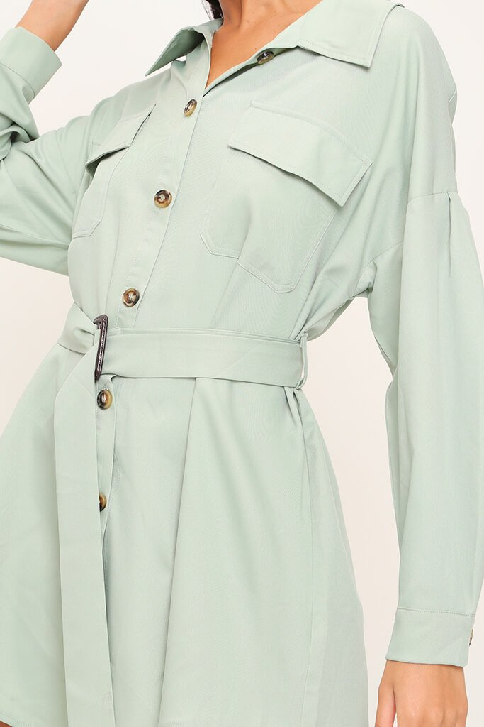 Sage Drop Shoulder Belted Oversized Shirt Dress view 4