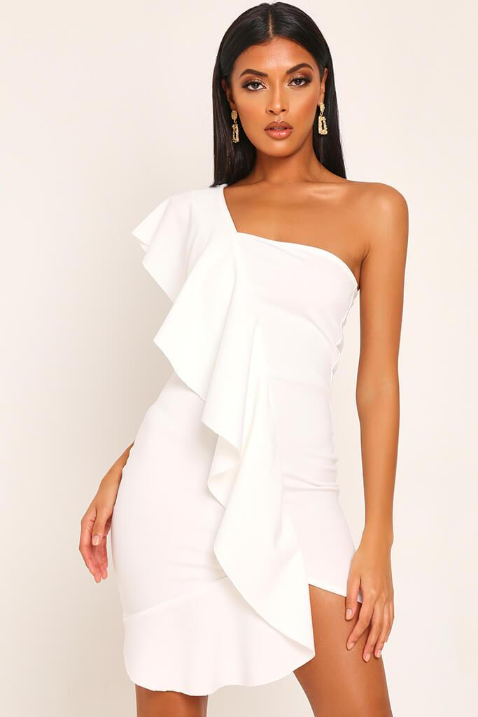 White Ruffle One Shoulder Mini Dress