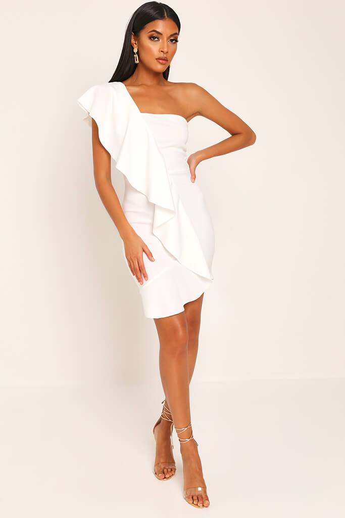 White Ruffle One Shoulder Mini Dress view 2