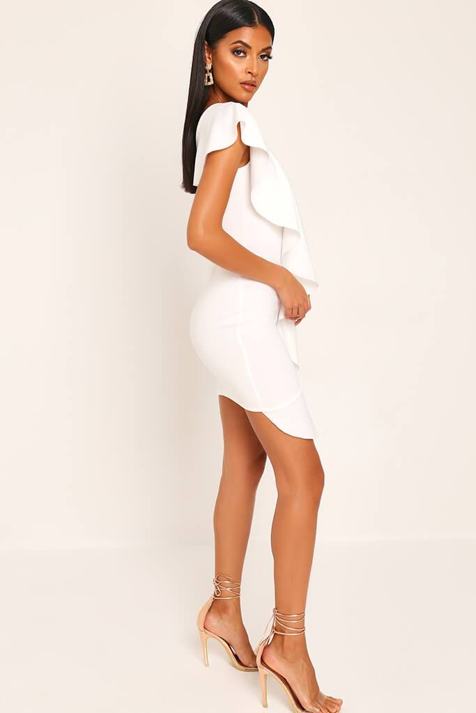 White Ruffle One Shoulder Mini Dress view 3