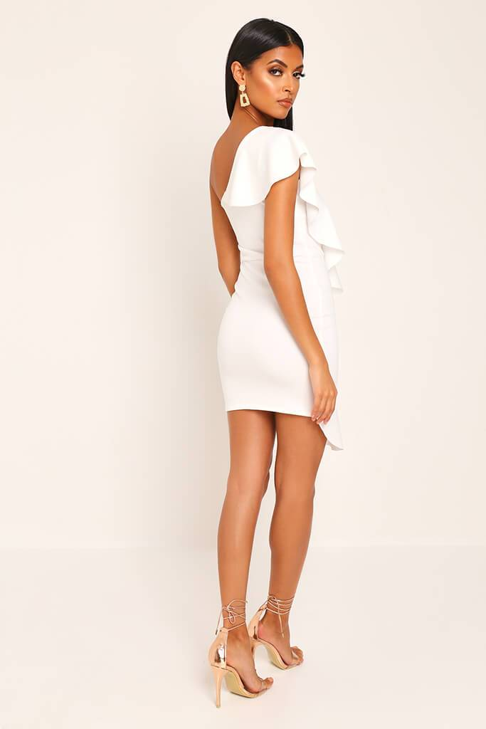 White Ruffle One Shoulder Mini Dress view 5