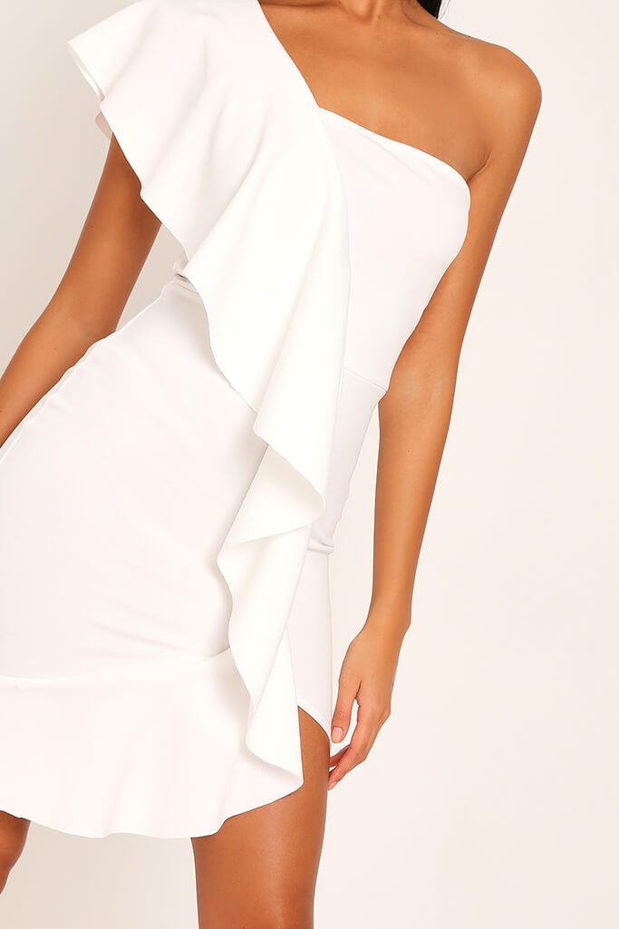 White Ruffle One Shoulder Mini Dress view 4