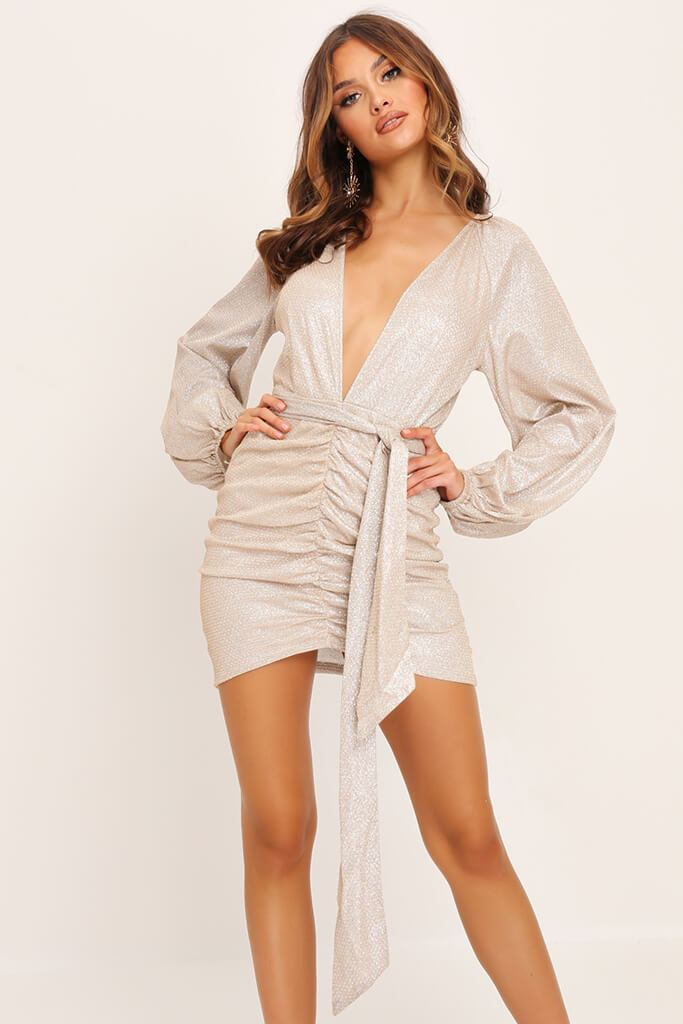 Gold Balloon Sleeve Plunge Sparkle Dress view main view