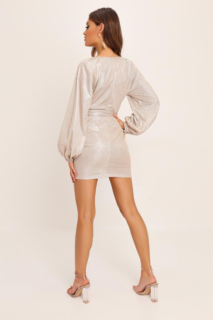 Gold Balloon Sleeve Plunge Sparkle Dress view 5