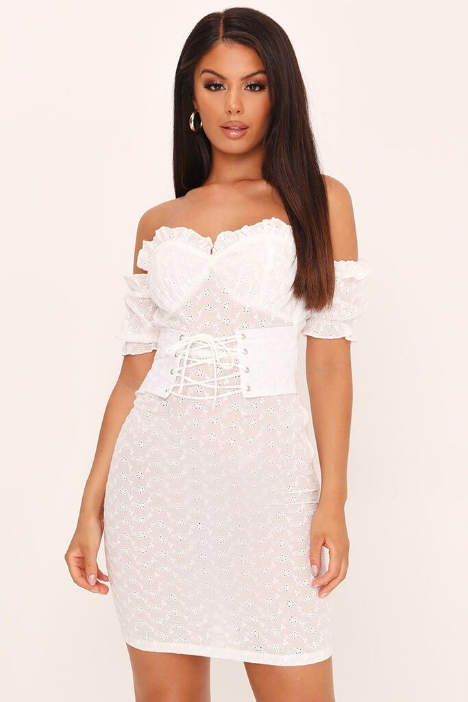 White Broderie Anglaise Corset Mini Dress
