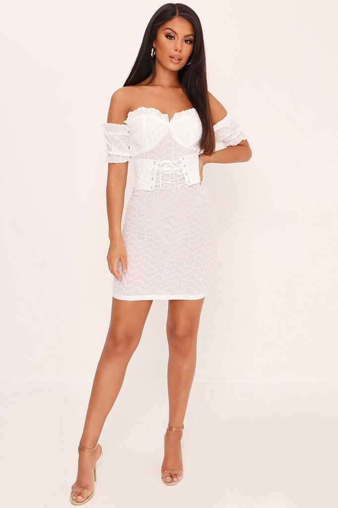 White Broderie Anglaise Corset Mini Dress view 2