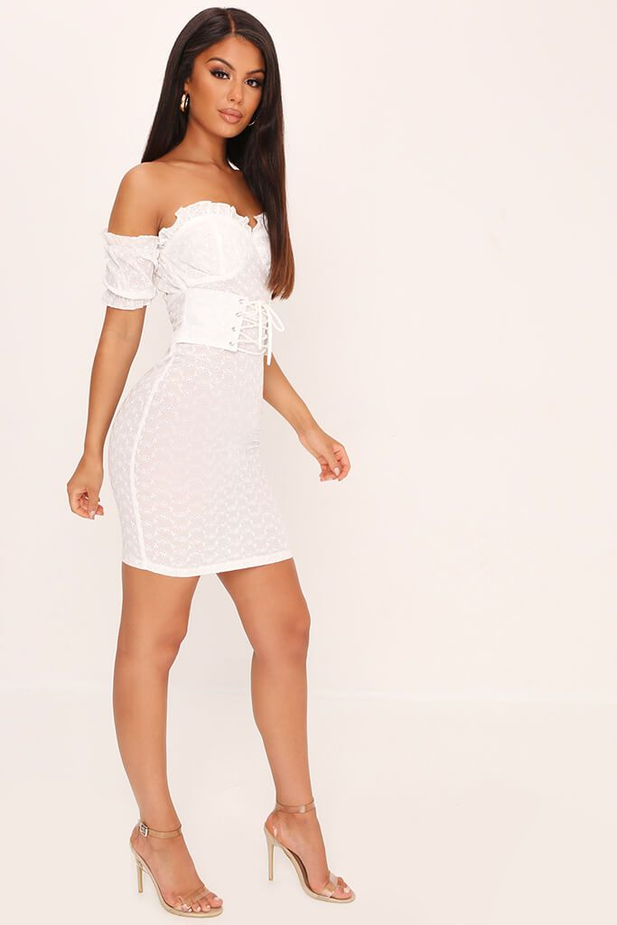 White Broderie Anglaise Corset Mini Dress view 3
