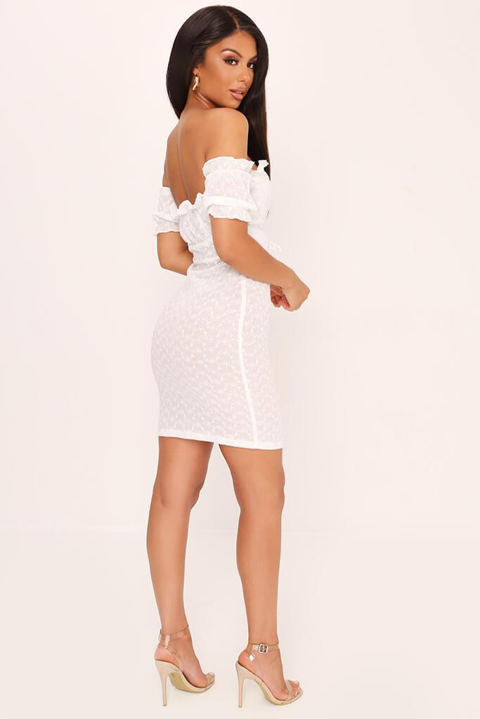 White Broderie Anglaise Corset Mini Dress view 5