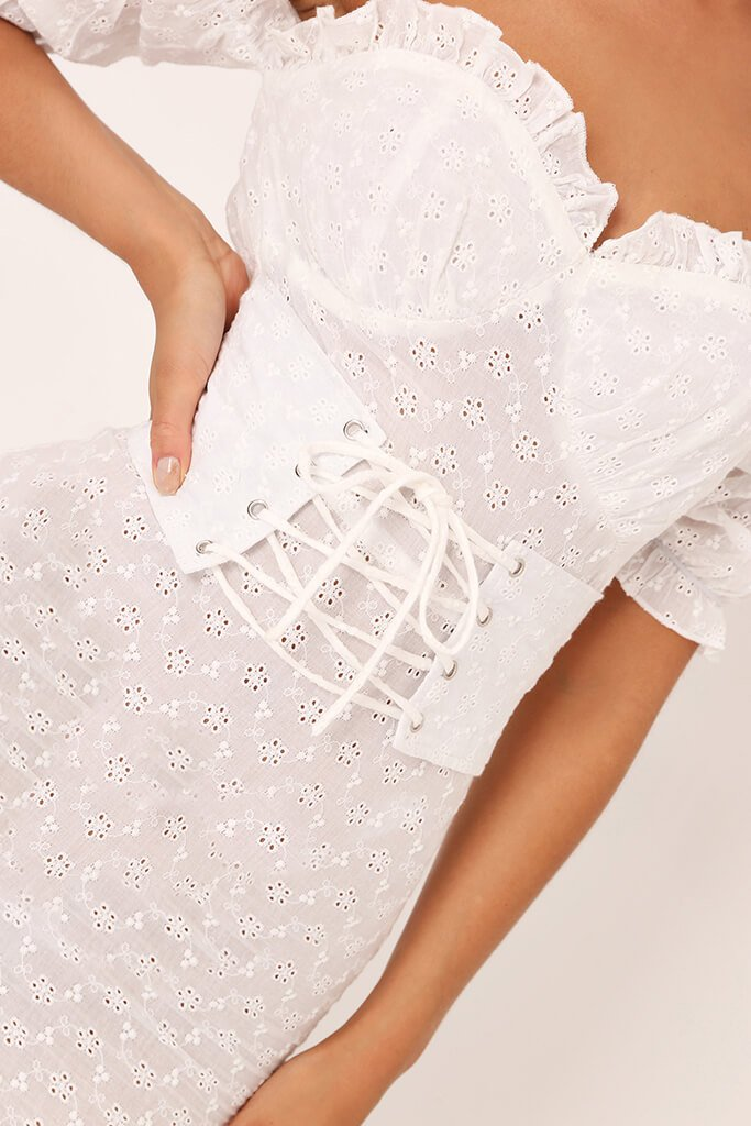 White Broderie Anglaise Corset Mini Dress view 4