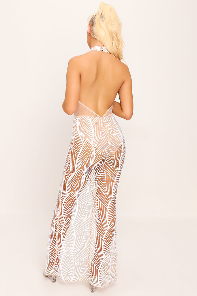 White Halter Neck Mesh Sequin Maxi Dress view 4