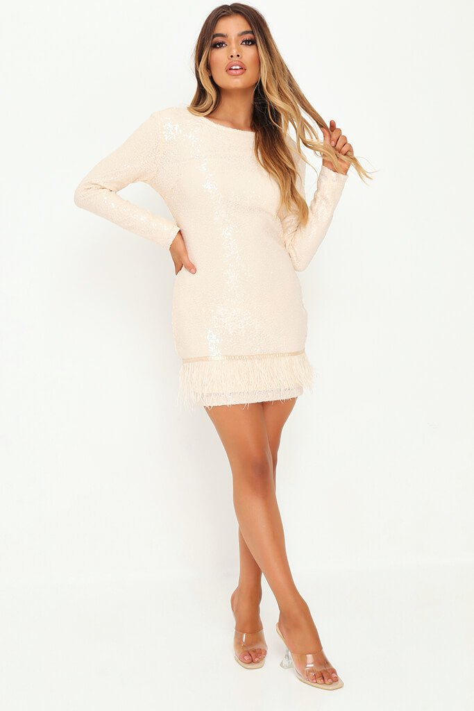 Nude Sequin Feather Bodycon Dress view 2