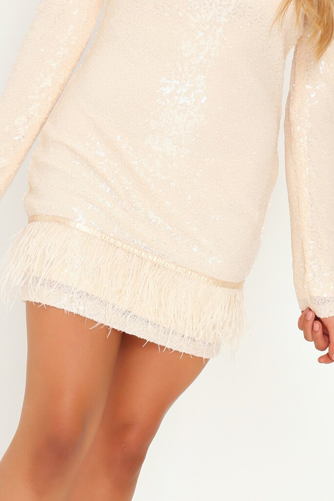Nude Sequin Feather Bodycon Dress view 4