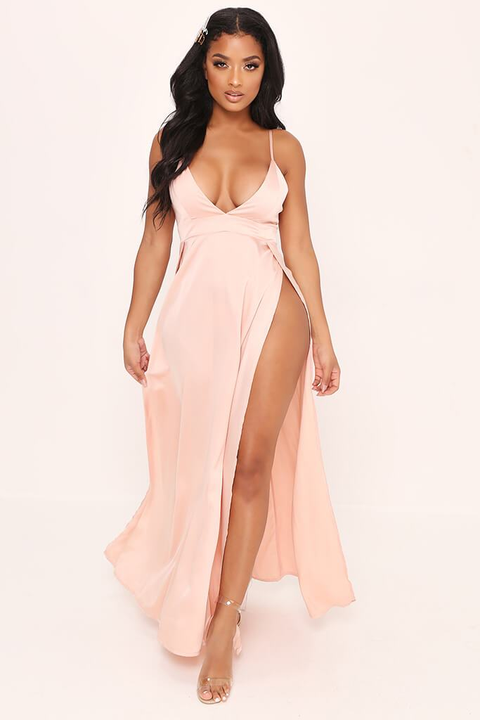 Taupe Plunge Split Front Satin Maxi Dress