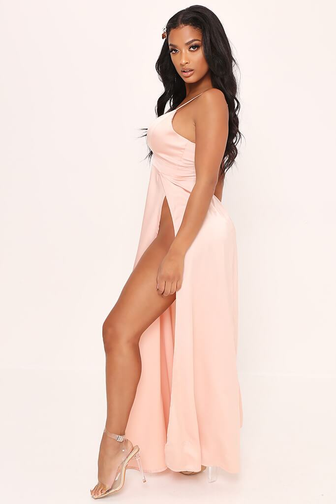 Taupe Plunge Split Front Satin Maxi Dress view 3