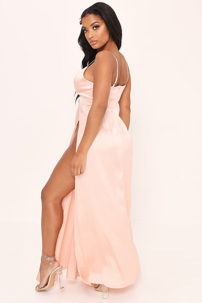 Taupe Plunge Split Front Satin Maxi Dress view 5