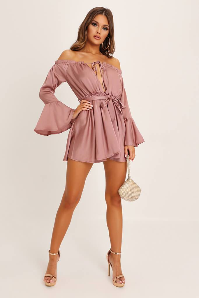 Taupe Bardot Satin Dress view 2