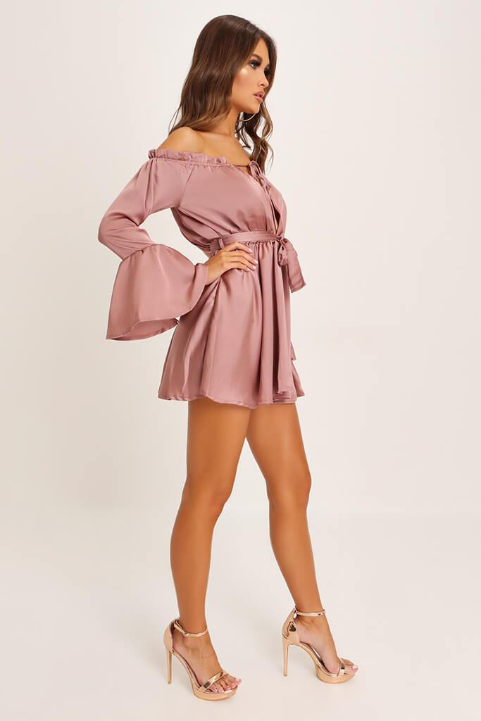 Taupe Bardot Satin Dress view 3