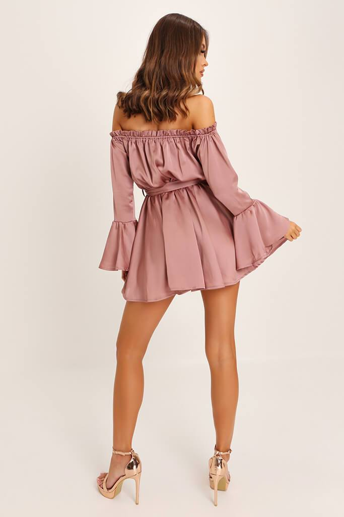 Taupe Bardot Satin Dress view 5