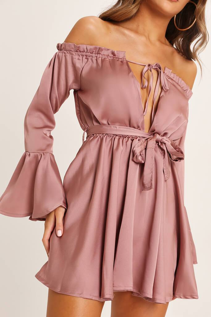 Taupe Bardot Satin Dress view 4
