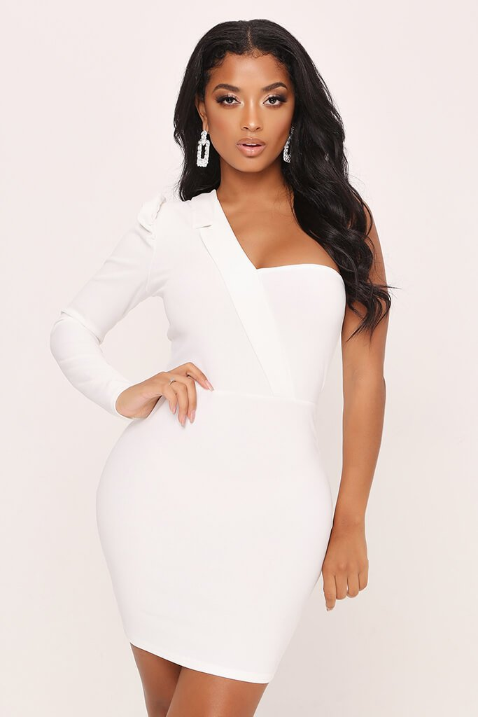 White One Shoulder Blazer Style Bodycon Dress view main view