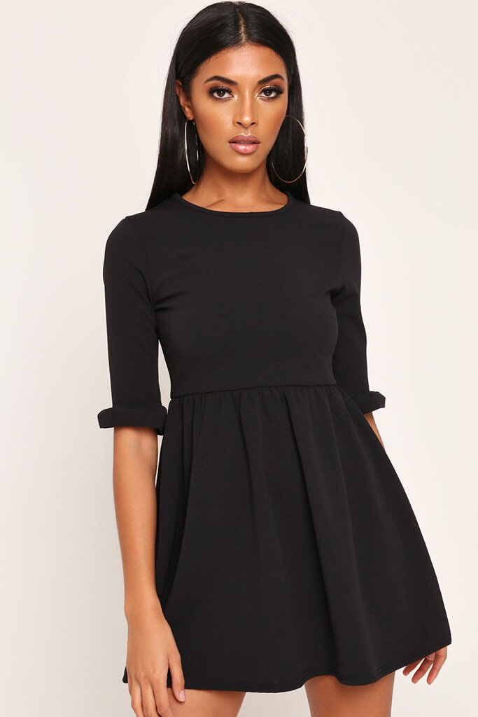 Black Frill Sleeve Smock Dress view main view