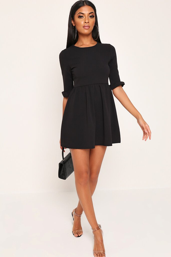 Black Frill Sleeve Smock Dress view 2