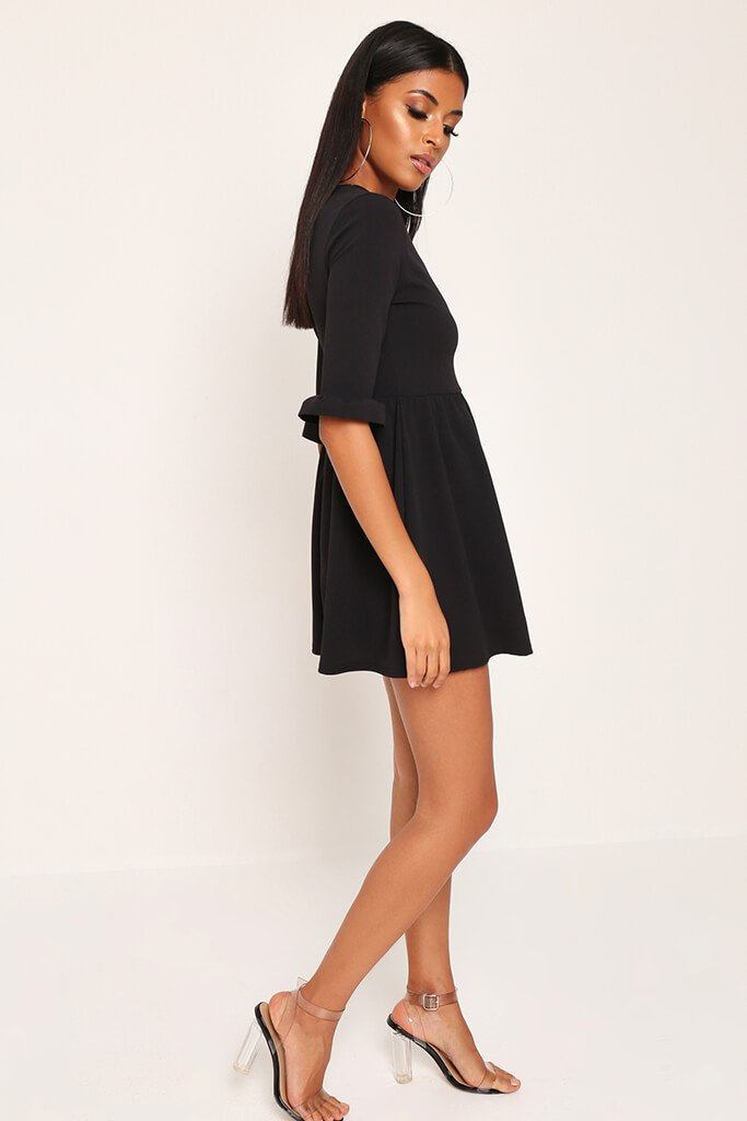 Black Frill Sleeve Smock Dress view 3