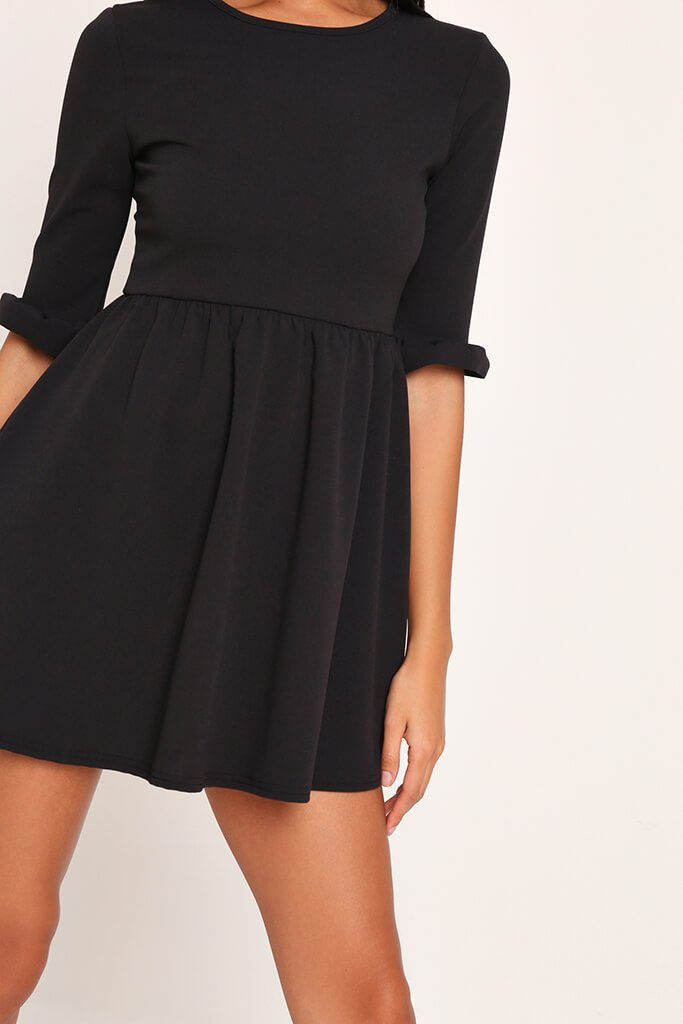 Black Frill Sleeve Smock Dress view 4