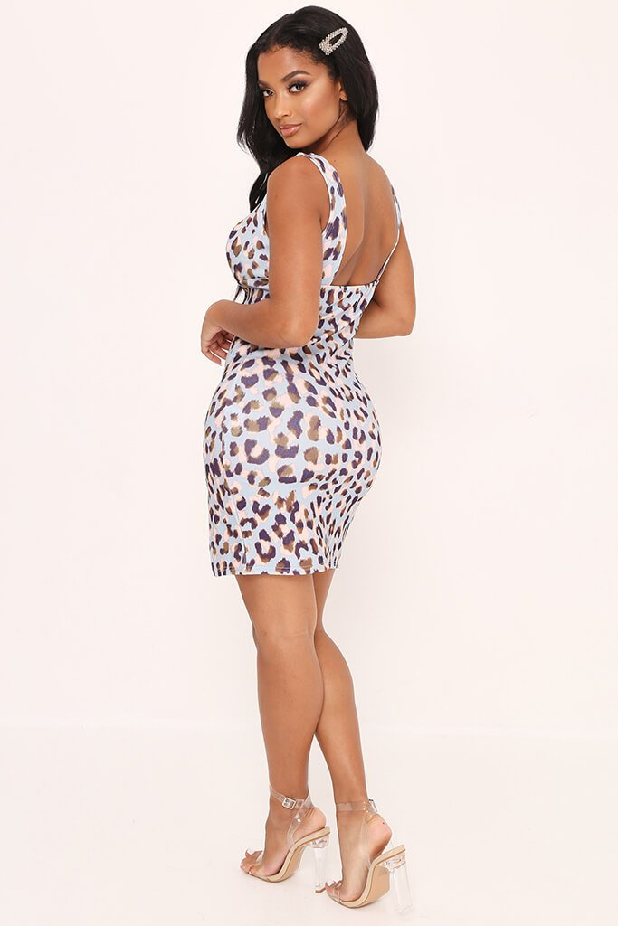 Blue Printed Sweetheart Neckline Dress view 5