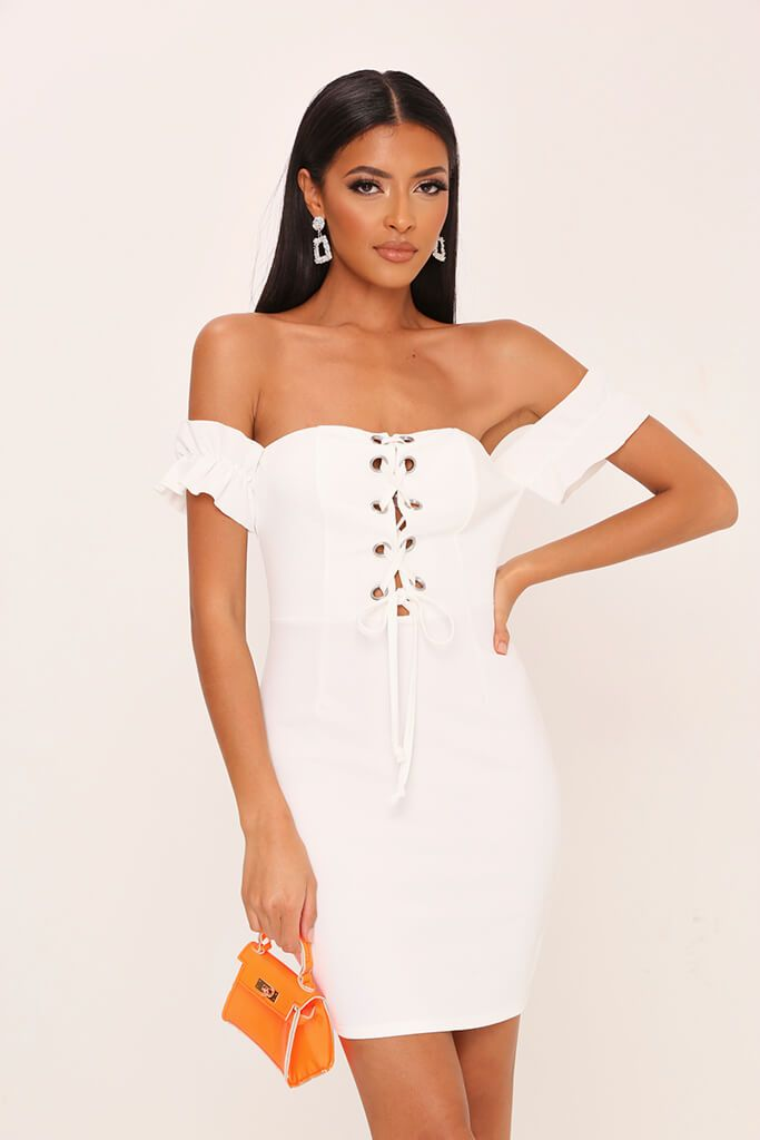White Eyelet Lace Up Front Mini Dress view main view