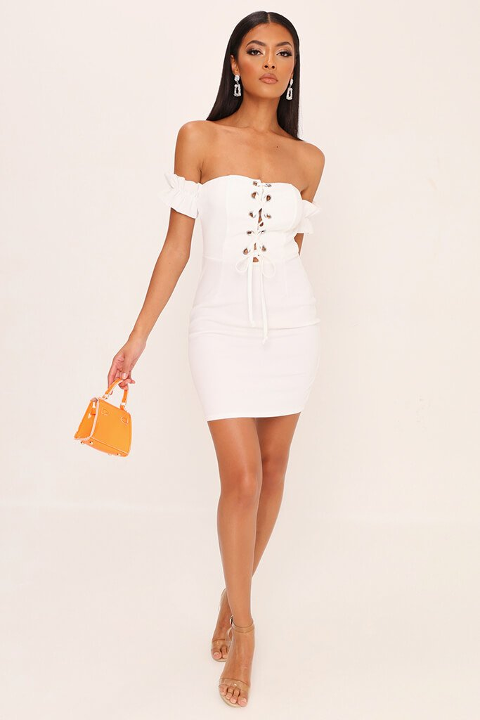 White Eyelet Lace Up Front Mini Dress view 2