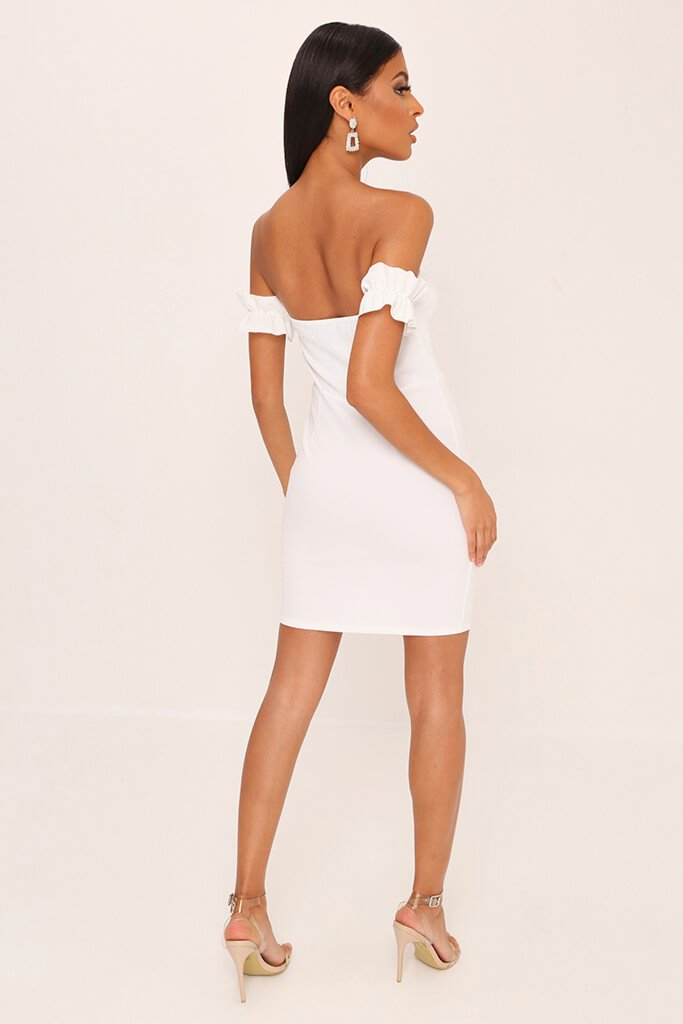 White Eyelet Lace Up Front Mini Dress view 4