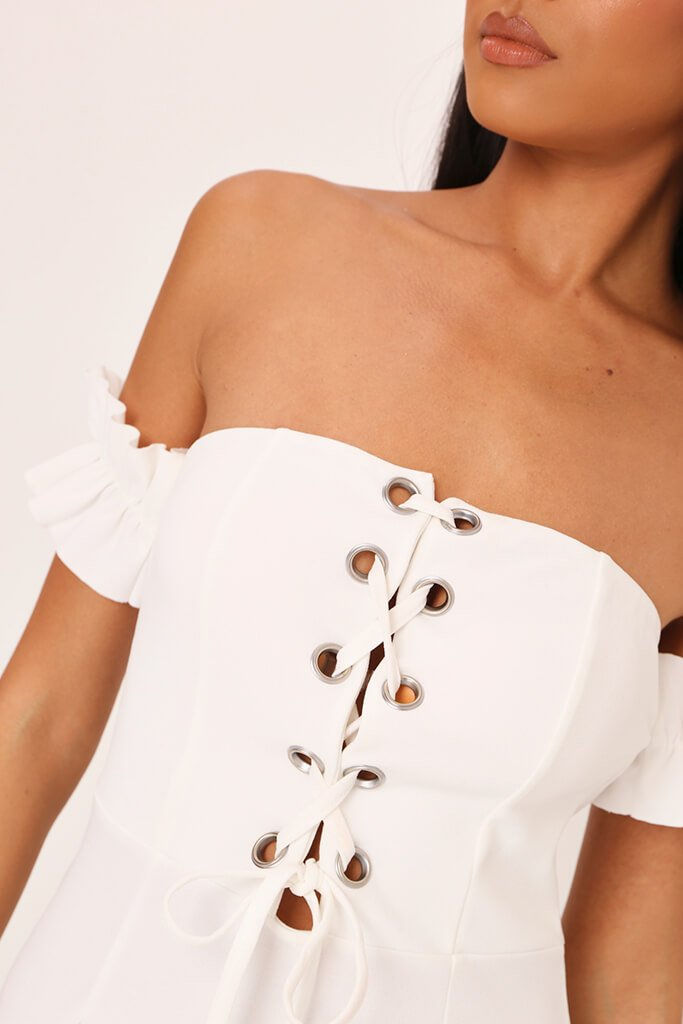 White Eyelet Lace Up Front Mini Dress view 3