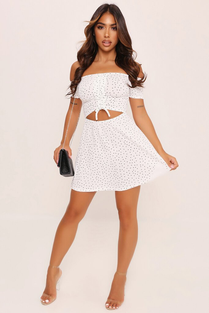 Monochrome Polka Dot Ruched Front Mini Dress view 2