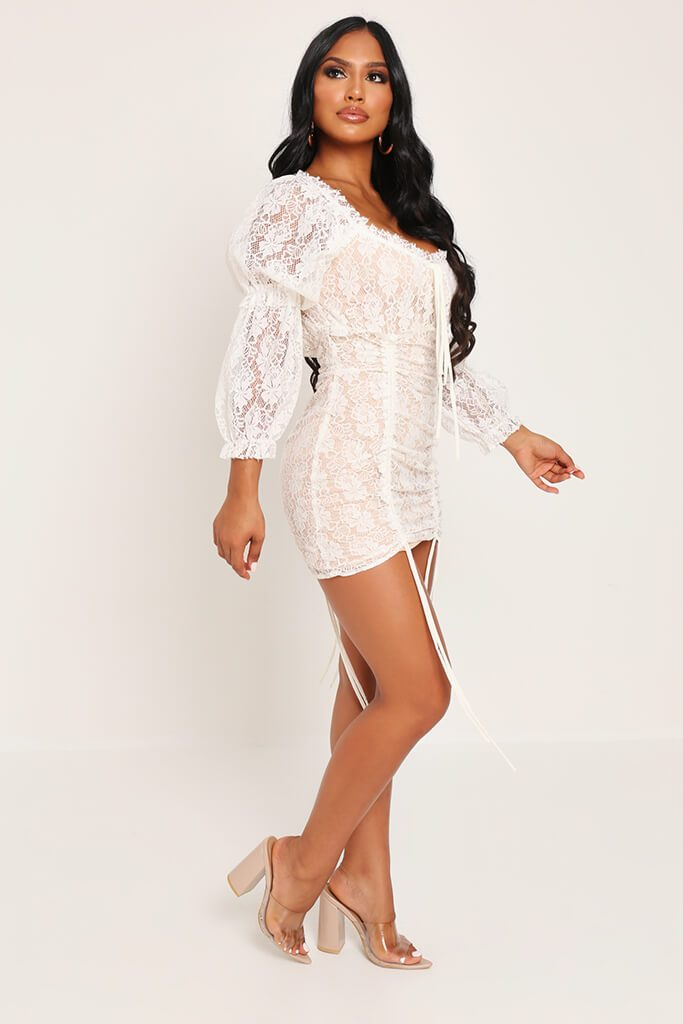 Cream Lace Puff Sleeve Ruched Mini Dress view 3