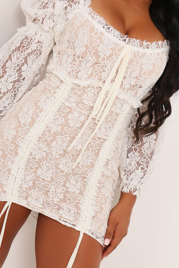 Cream Lace Puff Sleeve Ruched Mini Dress view 4