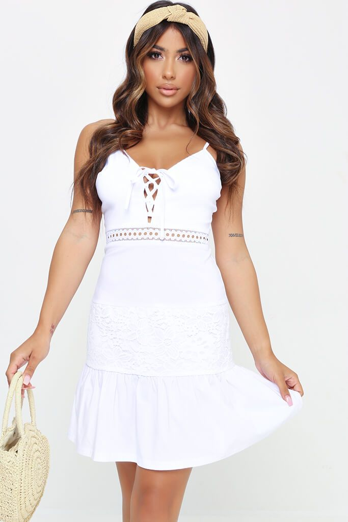 White Strappy Lace Front Mini Dress view main view