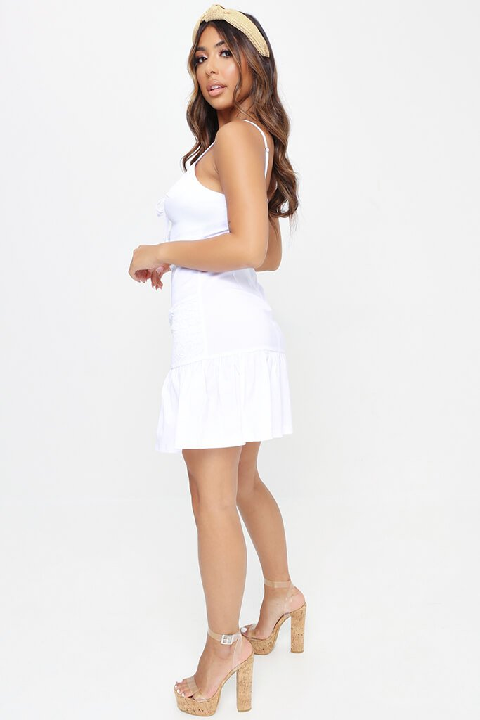 White Strappy Lace Front Mini Dress view 3