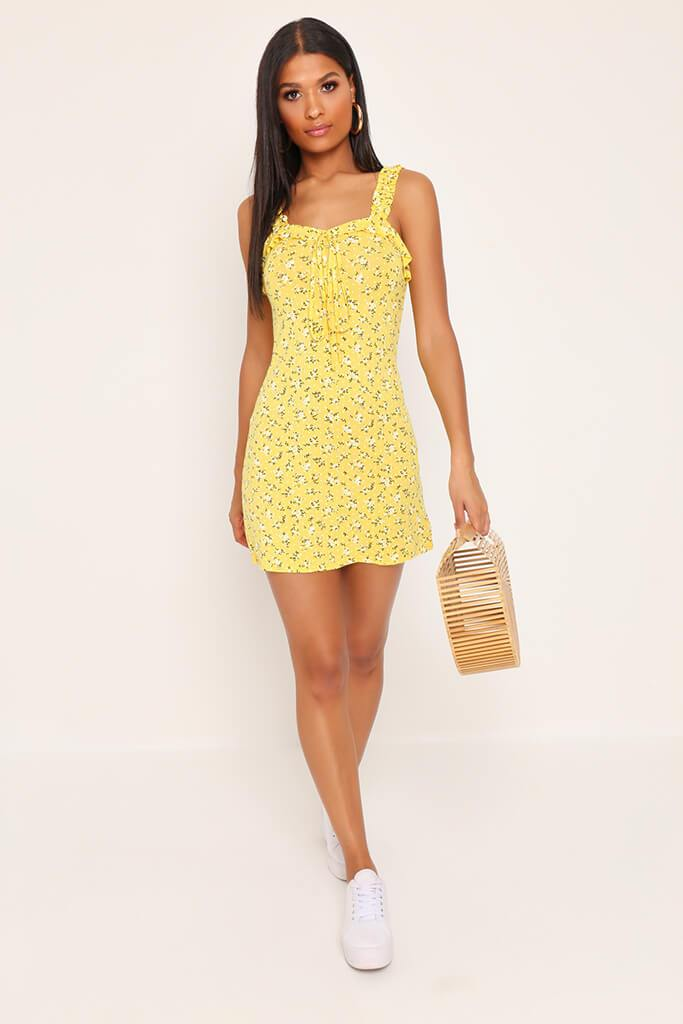Yellow Floral Print Tea Mini Dress view 2